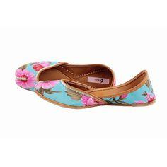 Shop this blue base punjabi jutti with full bloom pink flower @ Rs.1,299. #jutti #Punjabi #fashion #designeratwork #shopping