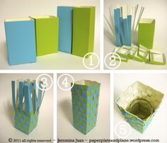 milk or juice cartons of the same size and a jar to realize flower vases