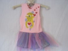 Top image printed princess dress up, Middle image girls hand made Ts 5to6 years. Bottom image, girls fairy skirts.
