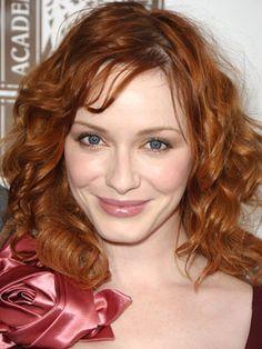 Christina Hendricks curly fringe