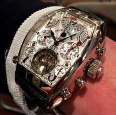 One intense timepiece 👀 The Franck Muller Aeternitas Mega 4 is the worlds most complicated wrist watch! Boasting 36 complications and Amazing Watches, Beautiful Watches, Cool Watches, Stylish Watches, Luxury Watches For Men, Patek Philippe Nautilus, Tourbillon Watch, Skeleton Watches, Hand Watch