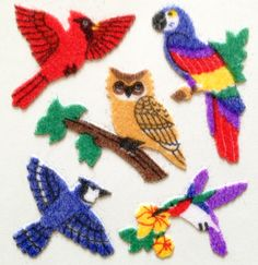 Sandylion Fuzzy Birds Felt Sticker Sheet