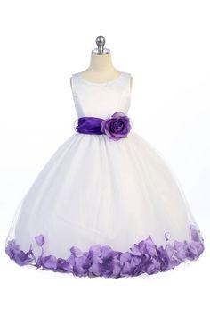 White/Purple Satin & Tulle Petal Flower Girl Dress with Sash & Flower