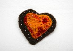 lurga / Heart as a gingerbread - brooch