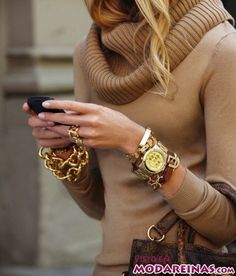 46b363836985 maneras de combinar el reloj dorado Suéteres Negros
