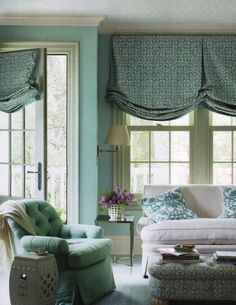 London Shades | Tulip Fabric in Frost Curtains and Ottoman | Galbraith & Paul
