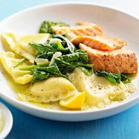 Salmon and Ravioli - cook ravioli, s & p salmon, heat olive oil in skillit and add salmon 6-8 mins turn once. remove salmon. add spinach to skillet for 1 min, remove. add lemon juice, garlic, and 2 tbs butter. pour over dish