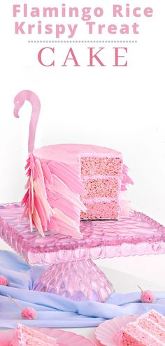 This easy Flamingo Rice Krispy Treat Cake recipe is super fun and will be the hit of any party! Delicious too! Best Cake Recipes, Pie Recipes, Baking Recipes, Sweet Recipes, Cookie Recipes, Homemade Desserts, Fun Desserts, Dessert Recipes, Rice Krispie Treats