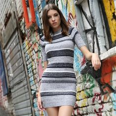 c80bd5fb8a355 Women Knitted Mini Dress Color Contrast Striped Bodycon Knit Dress Sexy