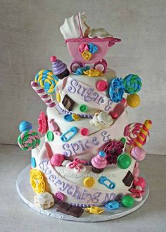 Sugar and Spice and Everything Nice Baby Shower Cake for Twin Girls - Beautiful Cakes & Cupcakes - Kuchen Fancy Cakes, Cute Cakes, Pretty Cakes, Beautiful Cakes, Amazing Cakes, Pink Cakes, Cute Baby Shower Ideas, Beautiful Baby Shower, Candy Theme Cake