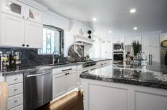 Tempest Granite from Arizona Tile in Salt Lake City with a Ogee Edge Quartz Countertops, Kitchen Countertops, Kitchen Cabinets, Ogee Edge, Engineered Stone, Stores, Home Kitchens, Kitchen Design, Traditional