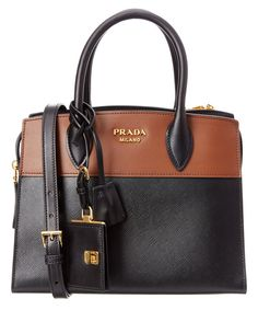PRADA Prada Esplanade Saffiano & Calf Leather Double Handle Tote. #prada #bags #shoulder bags #hand bags #leather #tote #lining #