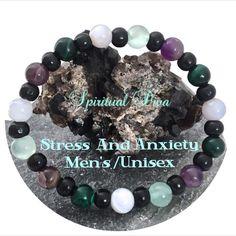 Stress Anxiety Relief Energy Healing Mens Reiki Gemstone Wood Bracelet