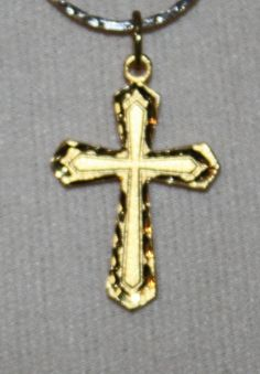 Vintage Necklace Golden Cross and Chain by ilovevintagestuff