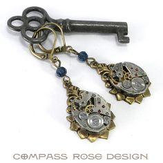 Clockwork Earrings - Brass Victorian Petite Teardrop Setting - Blue Crystal from Compass Rose Design Jewelry www.compassrosedesignjewelry.com