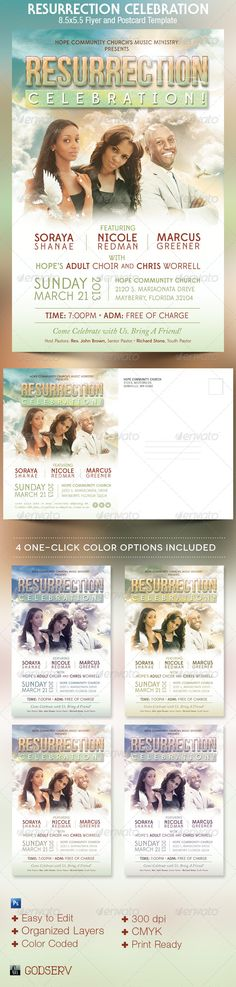 The Resurrection Celebration Church Flyer Template is geared towards usage for Church Concerts during the Good Friday, Passover and Easter Celebrations, but can be used for any other celebratory or fundraising event. It has a postcard side which is great from mailing out invitations to the event. This file is sold exclusively on graphicriver.net. $6.00