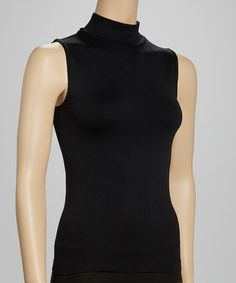 Loving this Black Caviar Shaper Mock-Neck Sleeveless Top - Women on #zulily! #zulilyfinds