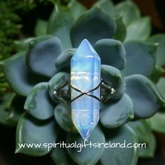 Opalite Double Terminated Crystal Gemstone Ring