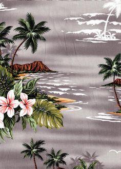 12nuha Tropical Hawaiian Tropical Hawaiian scenic, island, ocean, palms, Diamond Head, cotton apparel fabric. See more fabrics at: BarkclothHawaii.com
