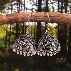 Bollywood Oxidized Gold Plated Handmade Hook Drop Light Weight Jhumka Jhumki Party Wear Earrings for women /& Girls