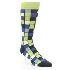 Lime Green Checkered Socks - Statement Sockwear