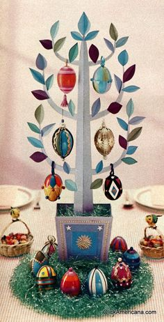 Find out how to make an Easter egg tree! (Craft from 1958)