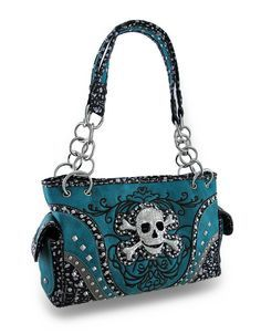 Embroidered Concealed Carry Rhinestone Skull Studded Purse (Black): Handbags: Amazon.com