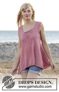 """Woodstock - Knitted DROPS top with lace pattern and A-shape, worked top down in """"Belle"""". Size: S - XXXL. - Free pattern by DROPS Design Drops Design, Knitting Designs, Knitting Patterns Free, Free Knitting, Free Pattern, Woodstock, Magazine Drops, Summer Knitting, Crochet Jacket"""