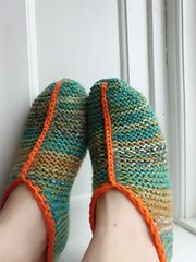 A simple garter stitch slipper pattern knitted flat and seamed with neat…