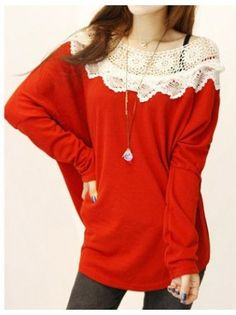 Crocheted Collar Loose Batwing Long Sleeved Sweater
