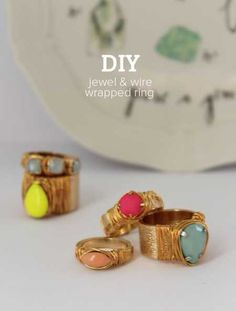 DIY Jewel and Wire Wrapped Ring