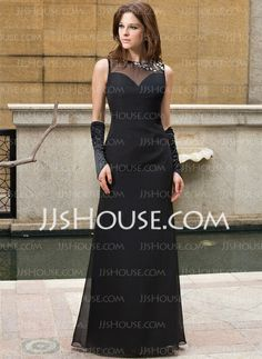 Evening Dresses - $139.99 - Sheath Scoop Neck Floor-Length Chiffon Tulle Evening Dress With Beading (022027394) http://jjshouse.com/Sheath-Scoop-Neck-Floor-Length-Chiffon-Tulle-Evening-Dress-With-Beading-022027394-g27394