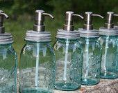 Blue Mason Jar Soap Dispenser with Bronze Metal Pump - Blue Quart Jar Lotion Bottle - Ball Perfect Mason
