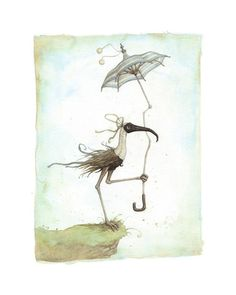 "Leontine Greenberg ""Long-Neck Bird Reaches the Edge"" Print"