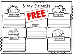 Story Elements Worksheet- title, character, setting, problem, solution
