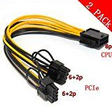 CPU 8pin to Graphics Video Card Double PCI-E 8Pin(6Pin2Pin)Power Supply Cable Splitter PCI Express Graphics Card Connector PC Power Cable Wire CPU Molex for Graphics Card BTC Miner (2 Pack)