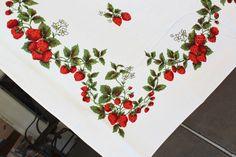 Strawberry Tablecloth Vintage  Retro Linens  by losttreasures2u