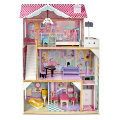 Spark big dreams with the delightful KidKraft Poppy Dollhouse! This almost four-foot-tall dollhouse packs in lots of play without taking up too much floor space. Three levels and four rooms ensure there's plenty for dolls to explore. Dreamhouse Barbie, Wooden Dollhouse, Dollhouse Miniatures, Tall Floor Lamps, Four Rooms, We Buy Houses, Hanging Chandelier, Colorful Artwork, Pastel Artwork