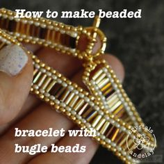 Learn step-by-step How to Use Bugle Beads to create a classic brick stitch bracelet. This tutorial shows you step-by-step how to bead bugle beads in two ways. You will learn brick stitch and how to create geometric pattern using bugle beads. Bead Jewellery, Seed Bead Jewelry, Diy Jewelry, Jewelry Making, Jewelry Box, Jewelry Ideas, Jewelry Findings, Jewelry Scale, Jewelry Accessories