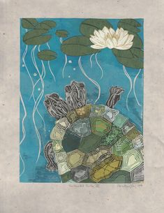 The Two-Headed Turtle artwork is part of a series of linocuts I have been making which are embellished with all sorts of beautiful ephemera and