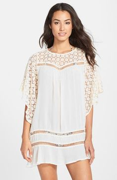Eberjey+'Bonfire+Beauty+Nova'+Lace+Trim+Cover-Up+Tunic+available+at+#Nordstrom