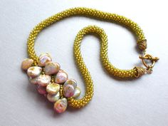 SAVE 20% on any orders over $20. Use coupon code OVER20SAVE20 @ checkout. Good till Dec. 16th.   Citron Seed Beads and Ceramic Bead  Woven Bead by FamilyJules, $48.00