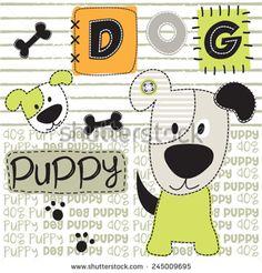 lovely dog with bone vector illustration - stock vector