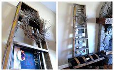 vintage ladder becomes magazine rack and display! love it! via http://funkyjunkinteriors.blogspot.com/2012/02/sat-nite-special-119-ladders.html