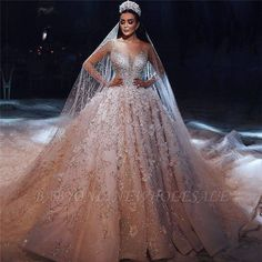 Luxury Beading Floral Bridal Gowns | Sheer Neck Long Sleeves Ball Gown Wedding Dresses | www.babyonlinewholesale.com