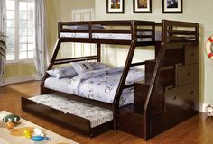 Saving More Space Inside Your House with Useful Full Over Queen Bunk Bed: great full over queen bunk bed with triple beds and storages