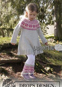 Как вязать теплое красивое платье с жаккардовым узором на кокетке для девочки от 3 до 12 лет