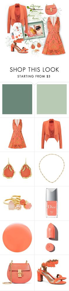 """""""Easter In Orange"""" by onesweetthing ❤ liked on Polyvore featuring Alice + Olivia, Aurélie Bidermann, Kate Spade, Christian Dior, JINsoon, PUR, Chloé and Tabitha Simmons"""
