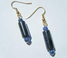 Blue goldstone and sodalite dangle earrings  by UndercoverZebra, £4.00