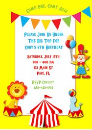 Circus Kids Birthday Party Invitations